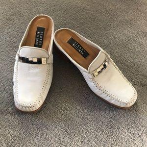 Vintage Stuart Weitzman White Loafer Slide Shoes